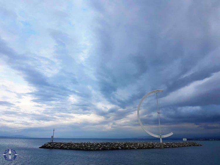 Eole wind vane along the Lausanne promenade, Lake Geneva