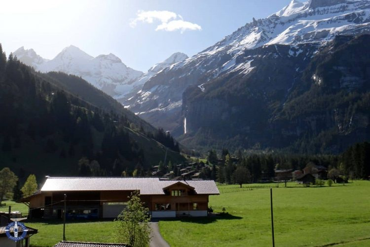 View of the Alps from the Hotel Alfa Soleil in Kandersteg, Switzerland