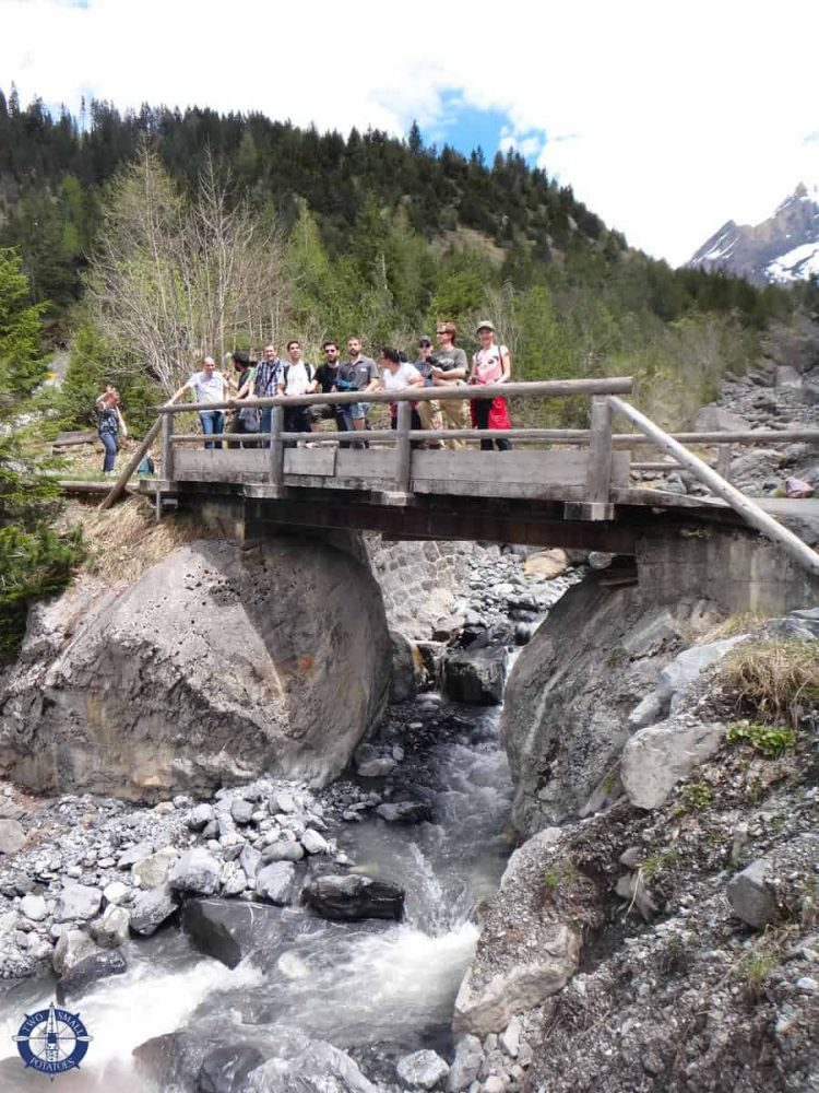 Our hardy group of adventure hikers at Oeschi Creek near Kandersteg