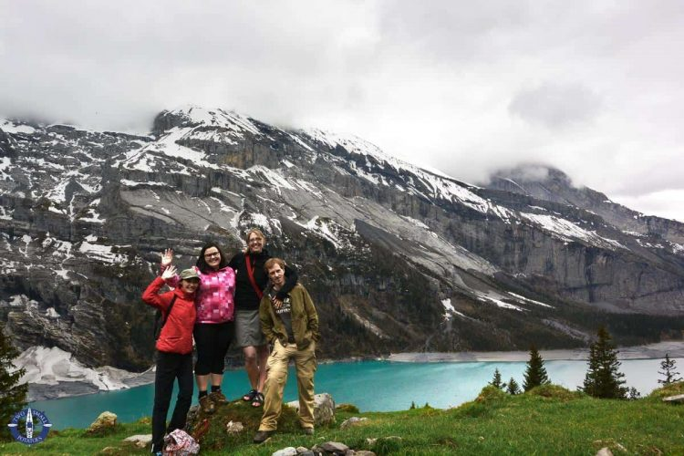 Two Small Potatoes hiking with friends at Oeschinensee