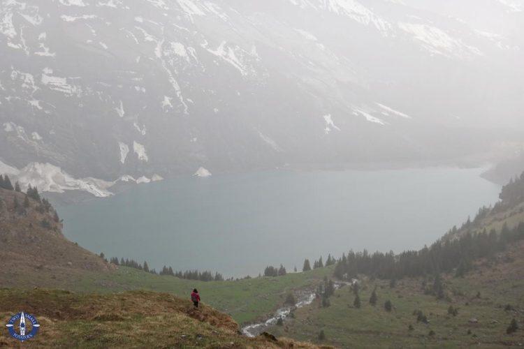 Lake Oeschinen in the pouring rain, Switzerland