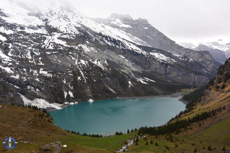 View of Lake Oeschinen from the panorama trail