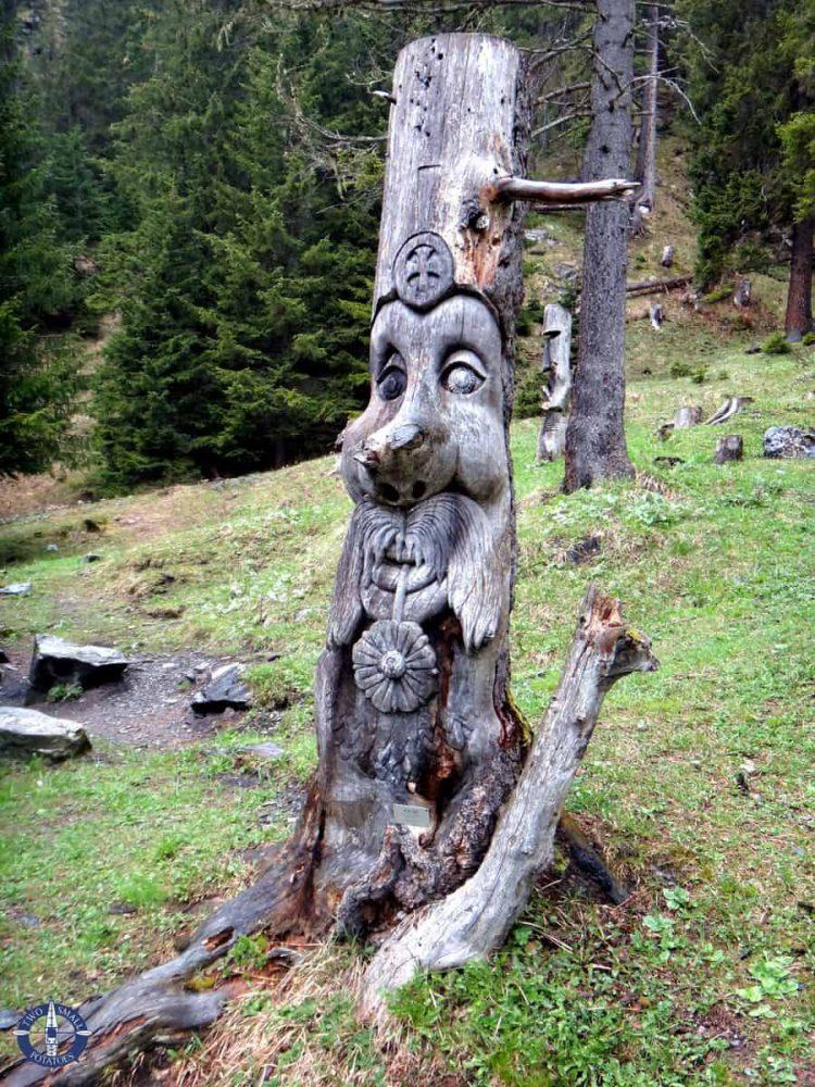 Mountain man wood carving near Kandersteg, Switzerland