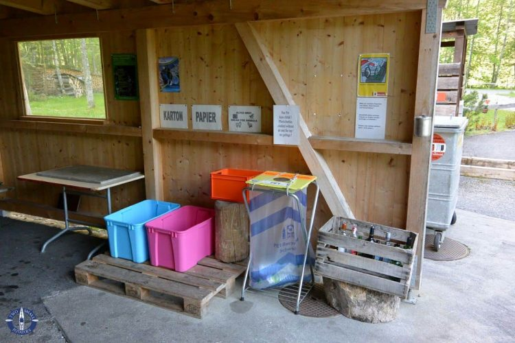 Recycling area at Camping Ruetti in Switzerland