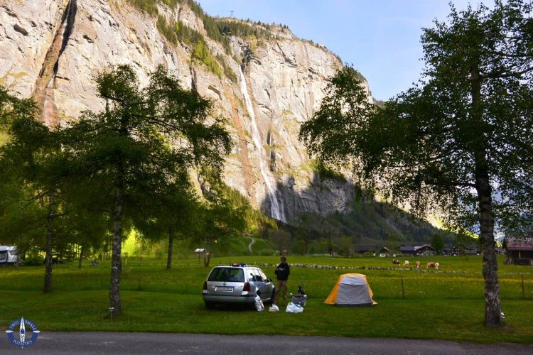 Muerrenbach Waterfall and our tent camping spot in Stechelberg, Switzerland