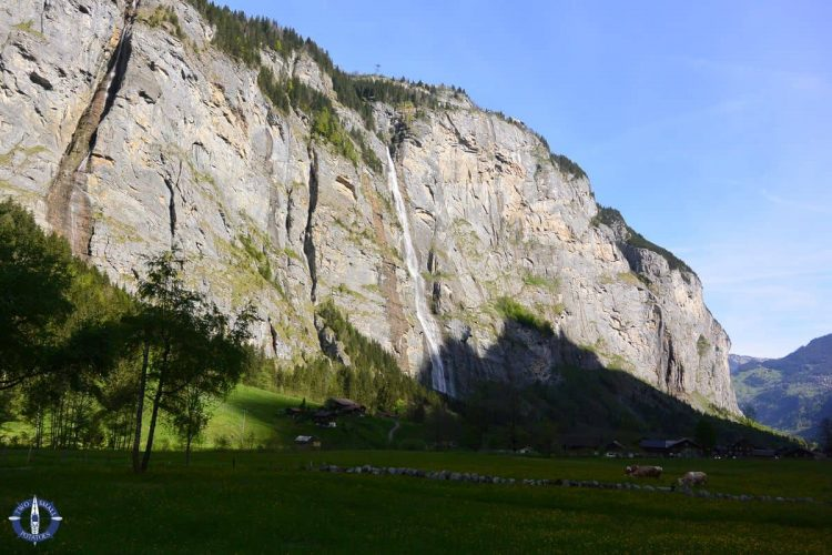 Waterfalls from our tent camping in Lauterbrunnen Valley, Switzerland