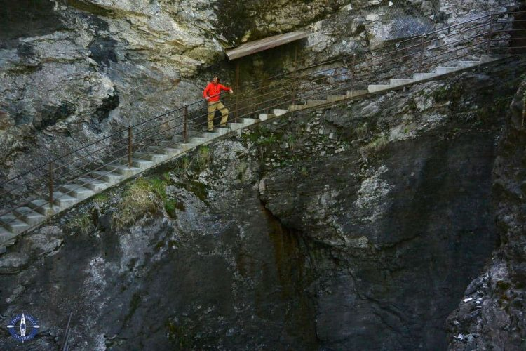 Hanging steps inside the cliff above Trummelbach Falls, Switzerland