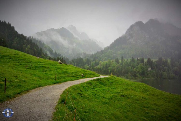 Trail along Schwarzsee to Brecca Gorge in Switzerland