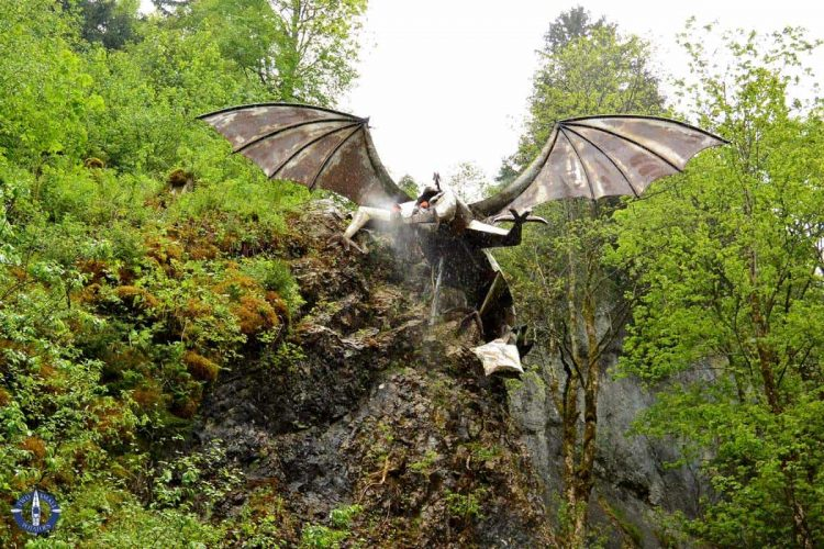 Fire-breathing dragon near Schwarzsee on the trail to Brecca Gorge, Switzerland