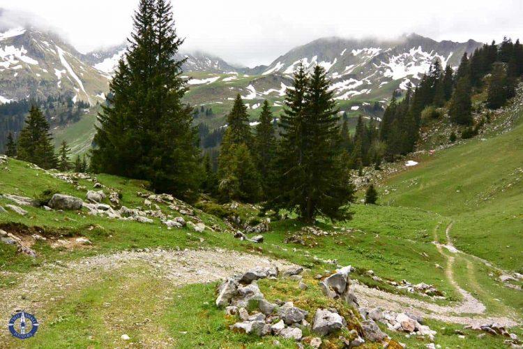 Trail with alpine views through Brecca Gorge in Switzerland