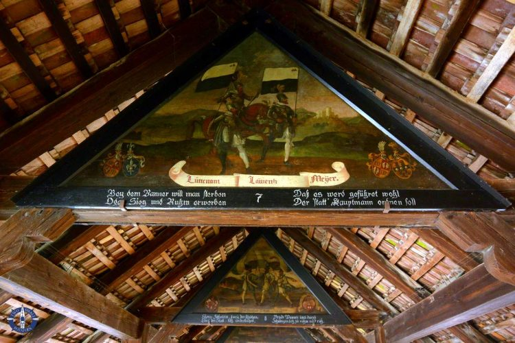 Medieval painting in Chapel Bridge, Lucerne, Switzerland