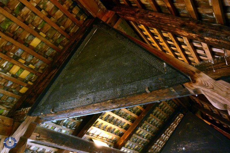 Scorched wood inside Chapel Bridge in Lucerne, Switzerland