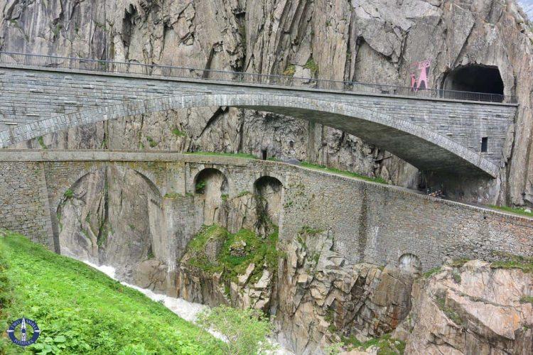 Reuss River beneath the Devil's Bridge in Switzerland