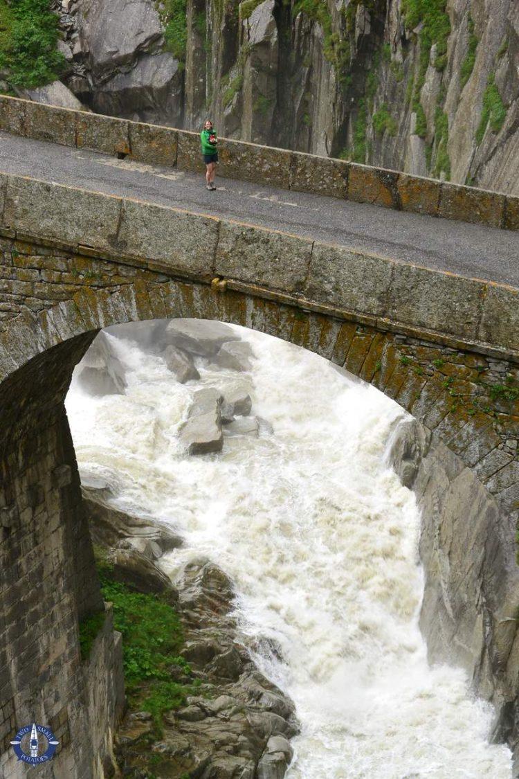 Crossing Devil's Bridge in Switzerland
