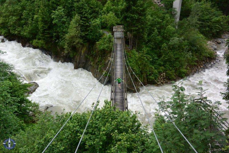 Suspension bridge over the Reuss River near Amsteg, Switzerland