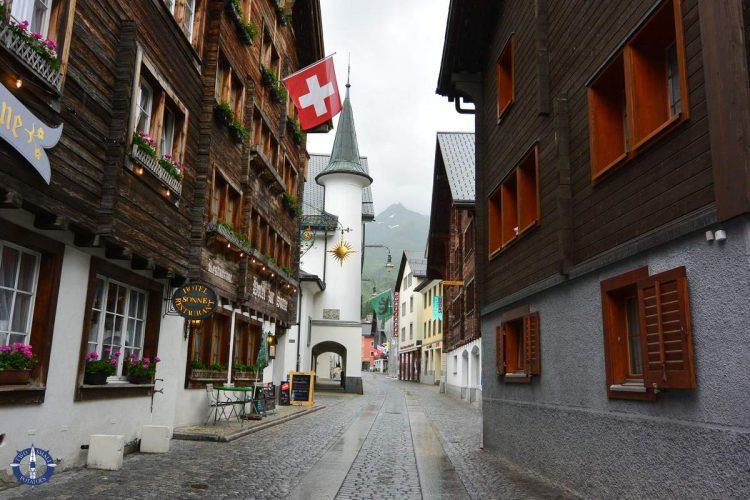 Town of Andermatt near Devil's Bridge in Switzerland