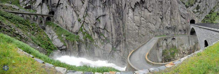 The three stone bridges of Devil's Bridge in Switzerland
