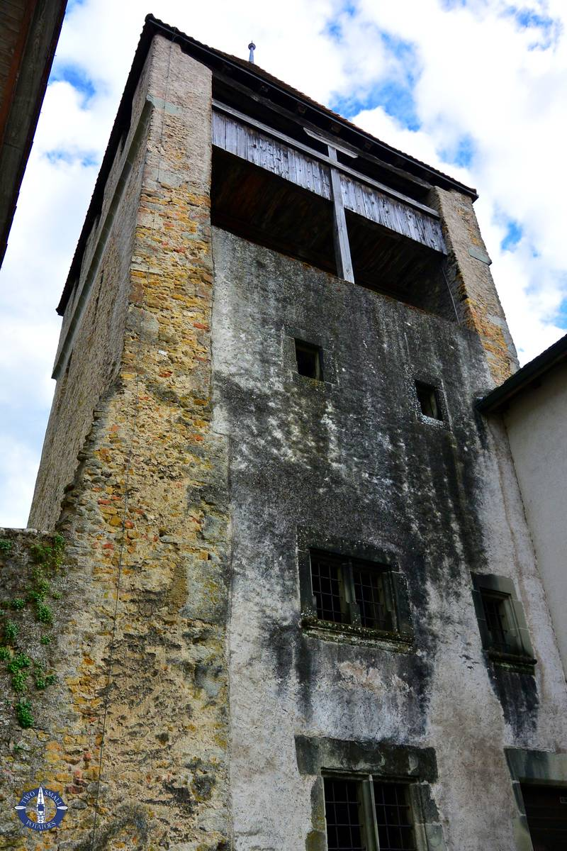 Foreboding 13th-century Benneville Tower in Avenches, Switzerland