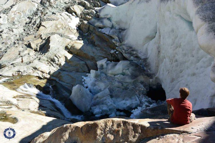Sitting just above Marjelen Creek where it flows under Aletsch Glacier