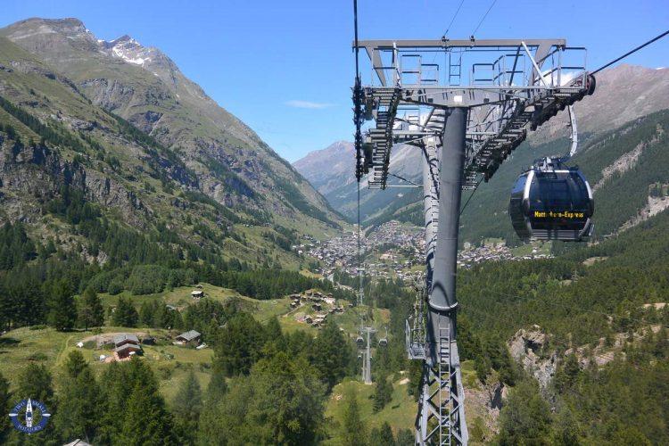 Matterhorn Express cable car above Zermatt, Switzerland