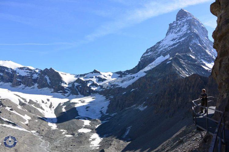 Metal boardwalk on the Hornlihutte Matterhorn Trail in Switzerland