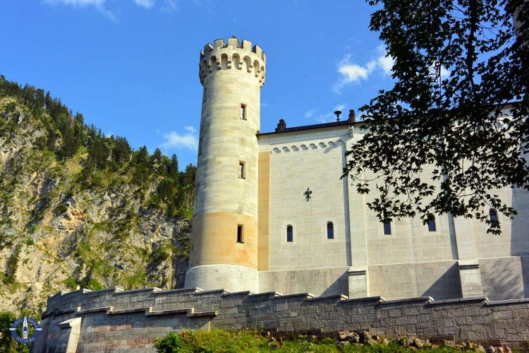 Turret and castle walls of Neuschwanstein Castle, Germany