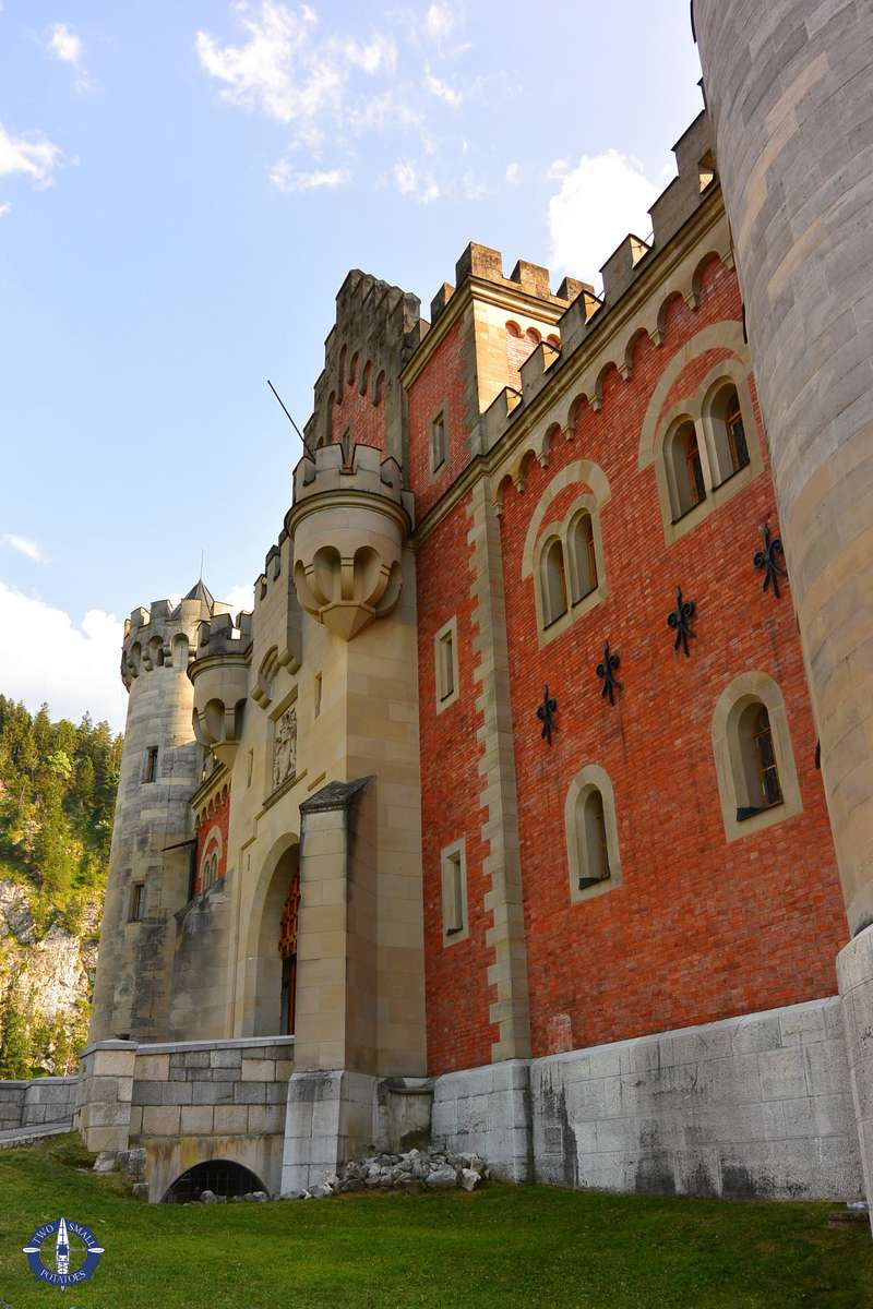 Front entrance of Neuschwanstein Castle in Bavaria, Germany