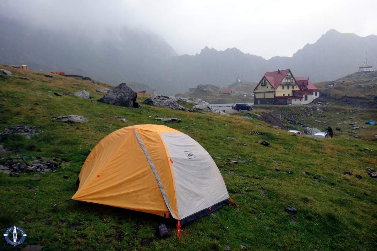 Tent camping at Balea Lake in the Carpathians, Romania