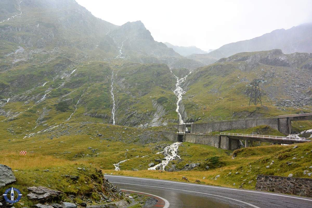 Balea Waterfall swells from rainfall on the Transfagarasan, Romania