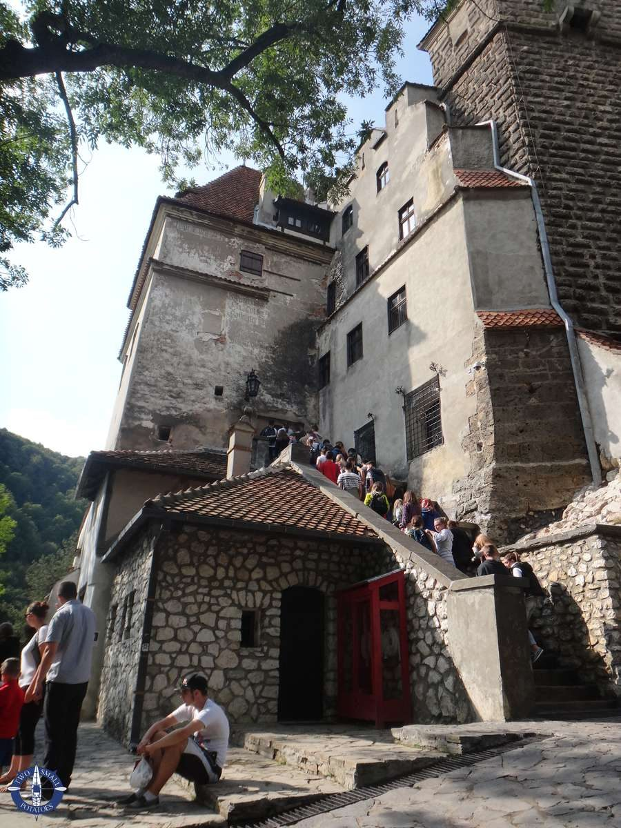 Entrance with long line at Bran Castle, Romania