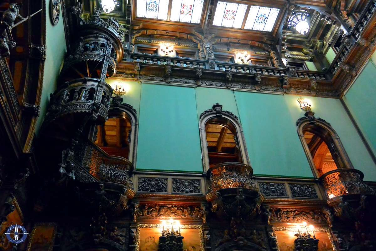 Grand Hall with spiral wooden staircases, Peles, Romania