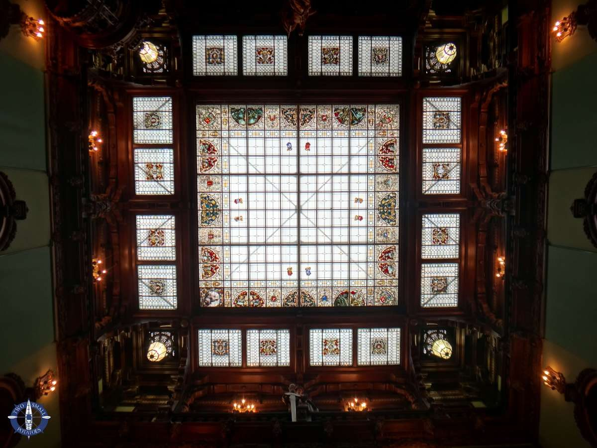 Stained glass ceiling at Peles Castle, Romania