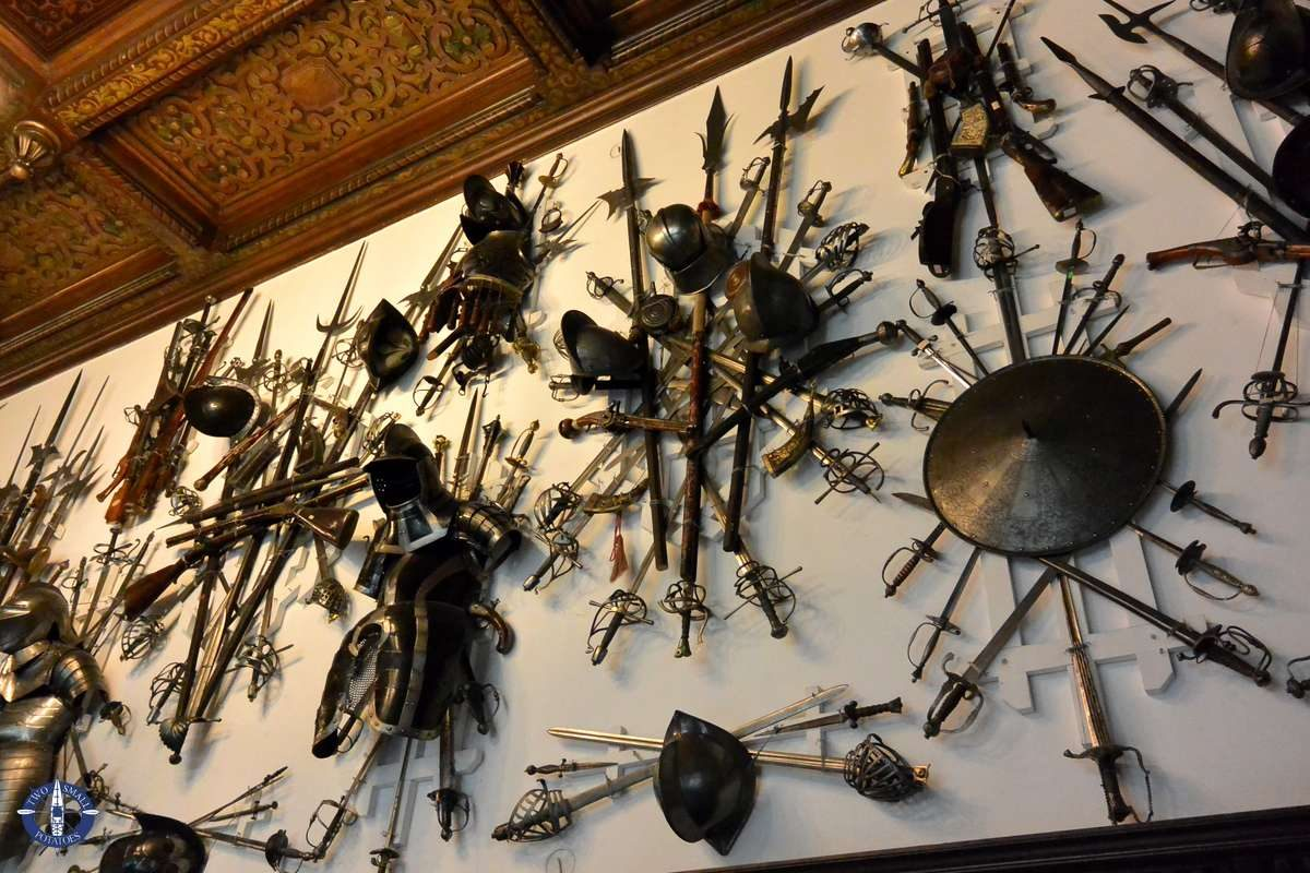 Armory with weapons at Peles Castle, Romania