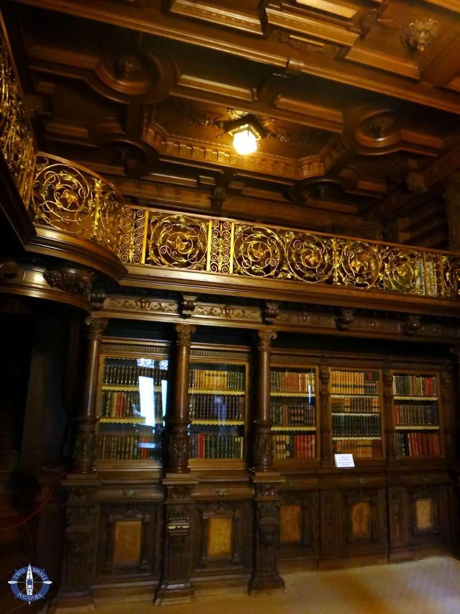 Dark wooden library at Peles