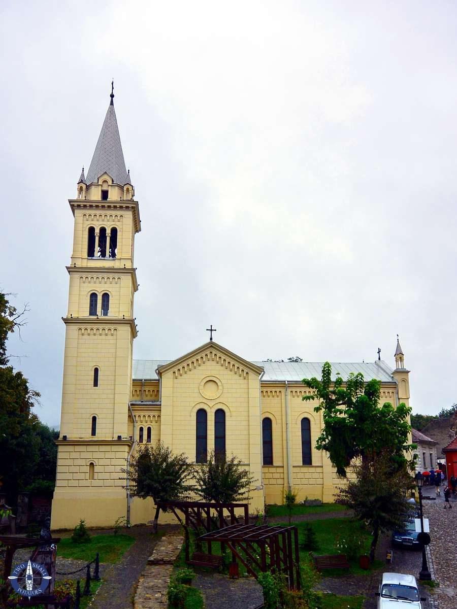 Exterior of St. Joseph's Roman Catholic Church in Sighisoara, Romania