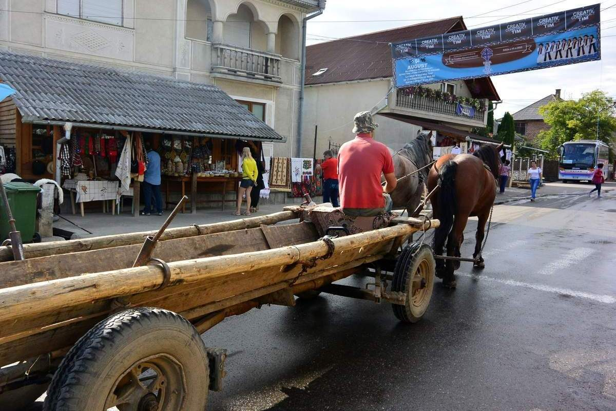 Horse and wagon in Săpânța, Romania