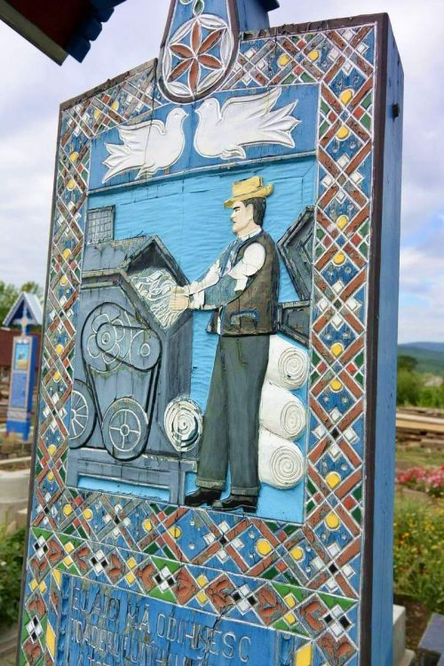 Tombstone of a textile worker at the Merry Cemetery of Săpânța