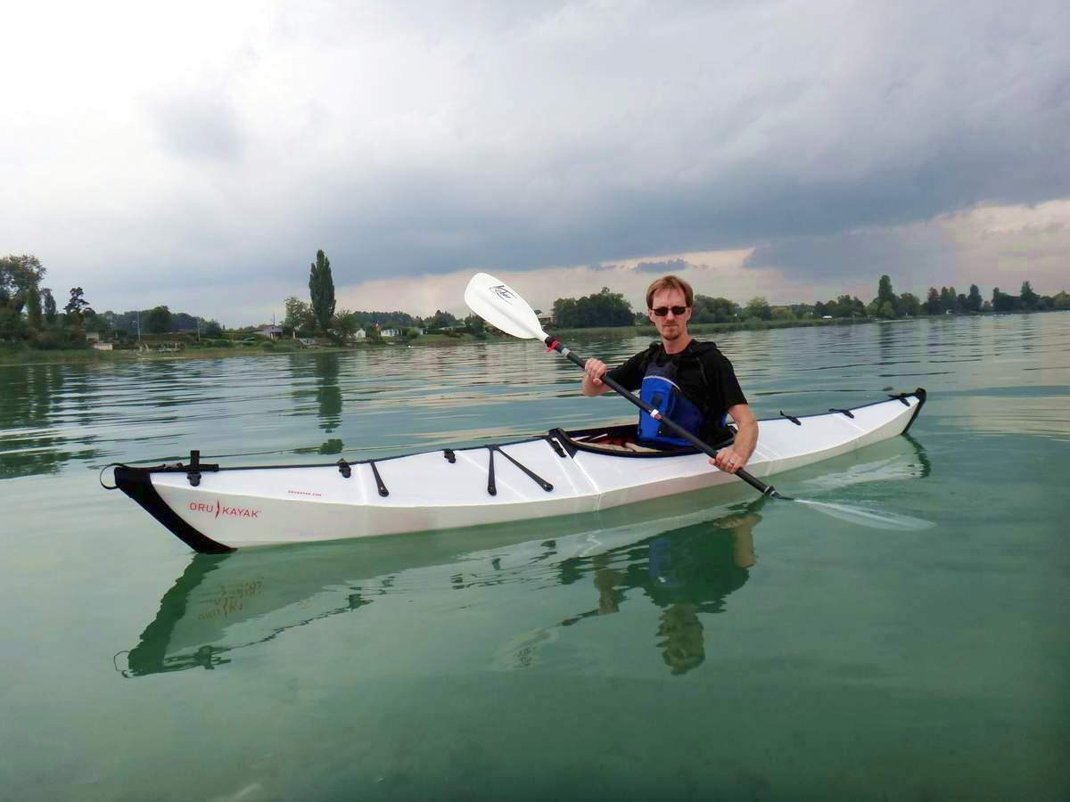 Paddling an Oru during a demo in Switzerland