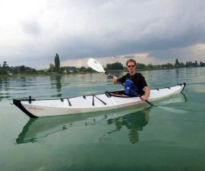 Paddling an Oru kayak in Switzerland