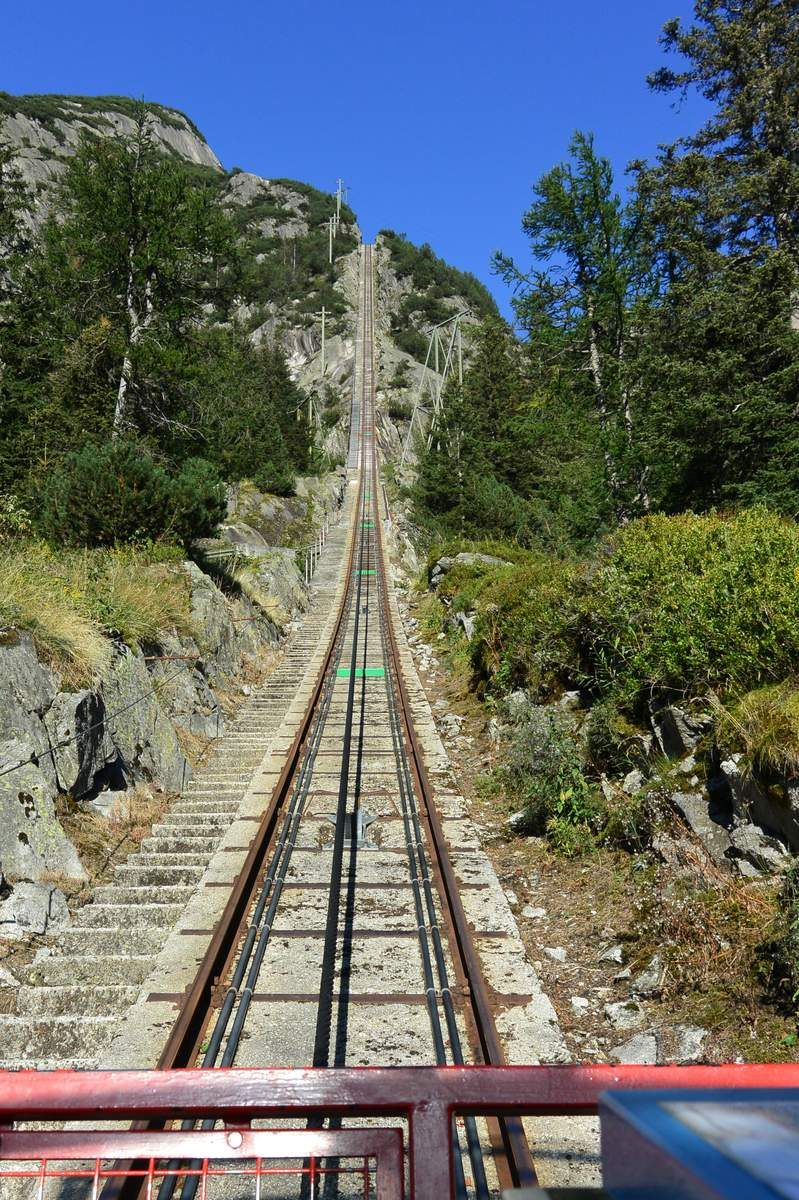 The Gelmerbahn Funicular in Switzerland