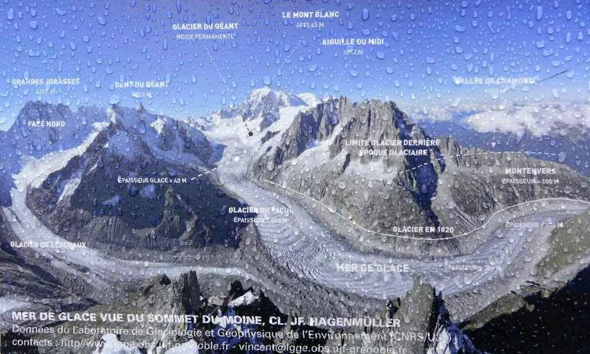 Map of Mer de Glace glacier in France