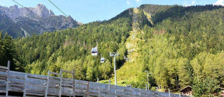 Cable car from Chamonix to Planprax for hiking in the French Alps