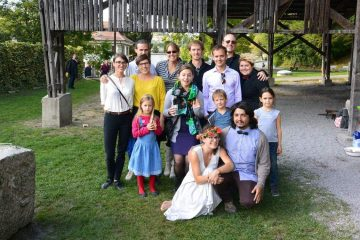 With friends at our first Swiss wedding