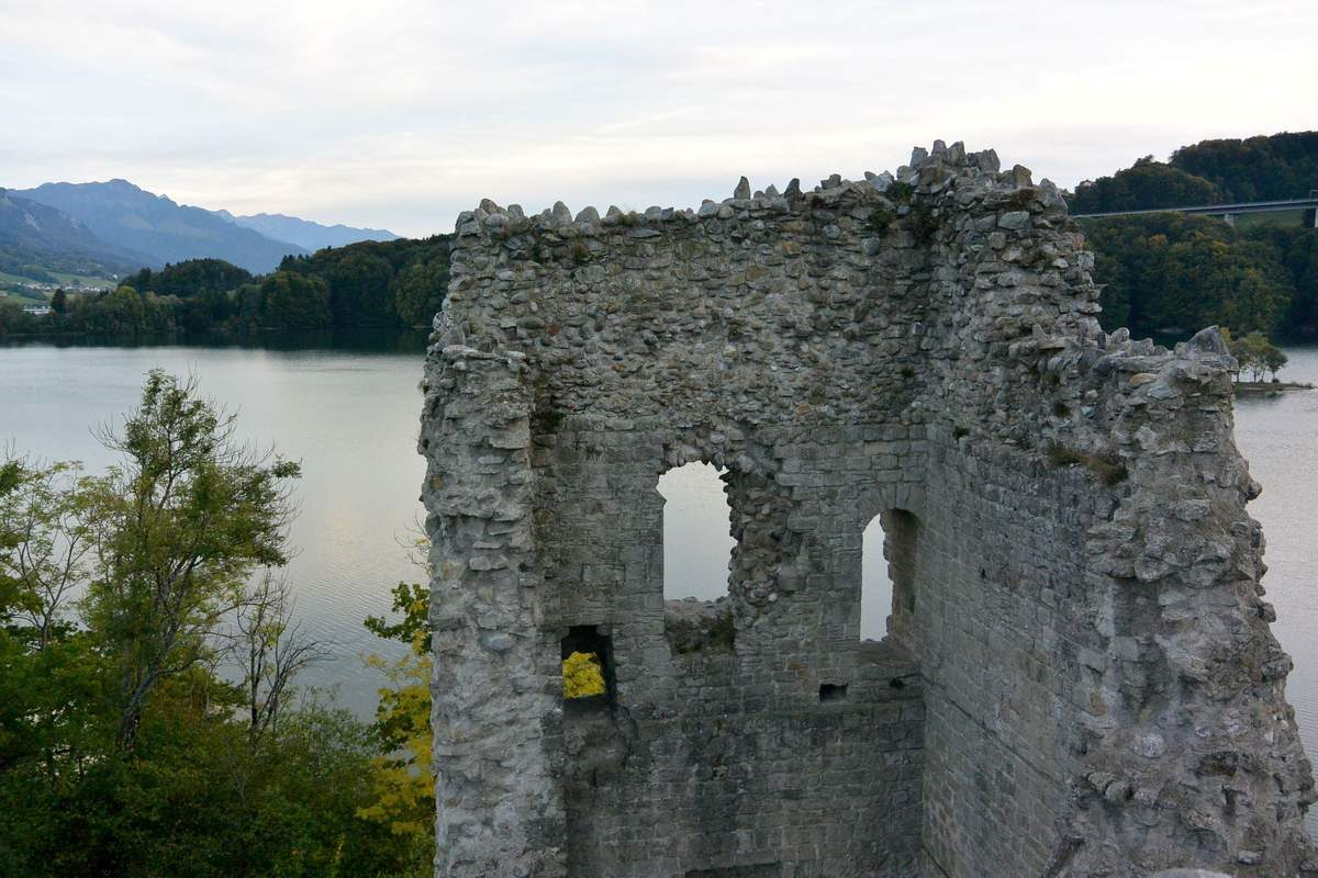 Castle tower on the Isle of Ogoz in Lake Gruyère
