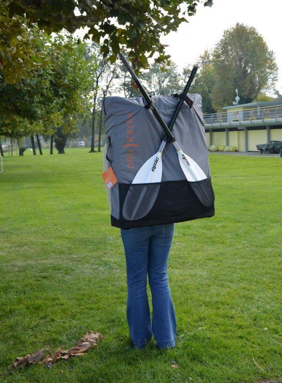 Modeling my new Oru kayak in its cusstom backpack