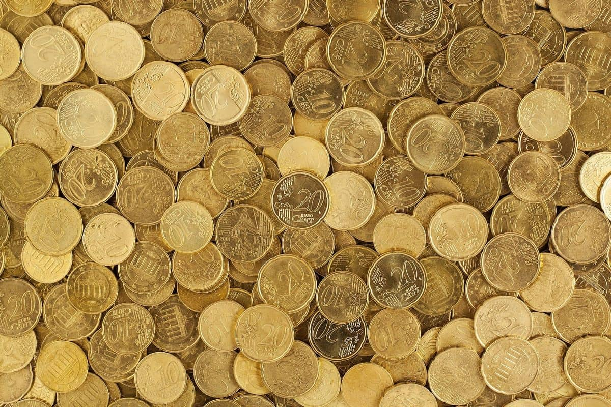 Pile of gold euro coins