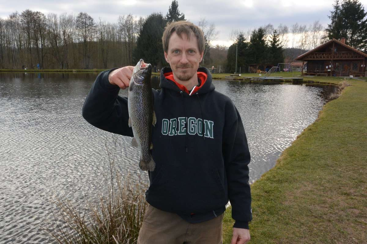 Travis trout fishing in Germany at Angelsee