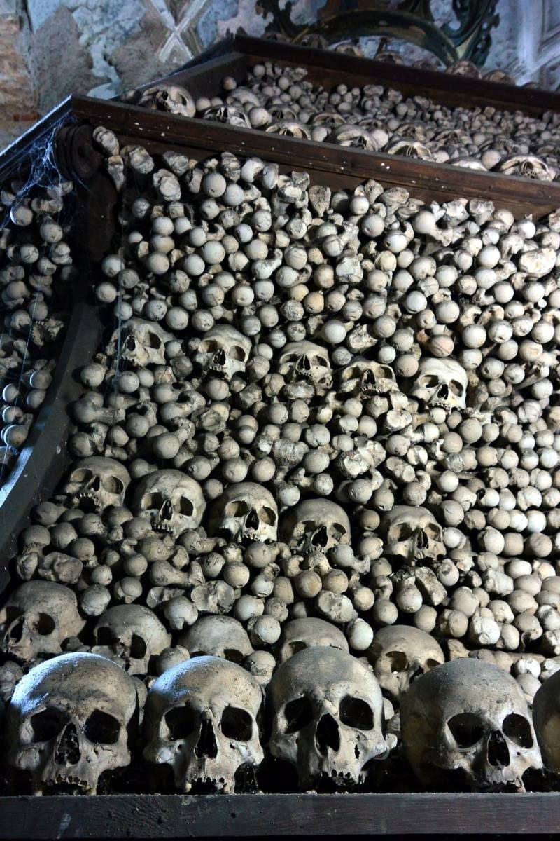 Bell shaped mound of skulls at Sedlec Ossuary