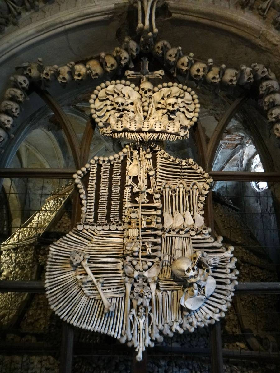 Schwarzenberg family emblem of skulls at Sedlec Ossuary