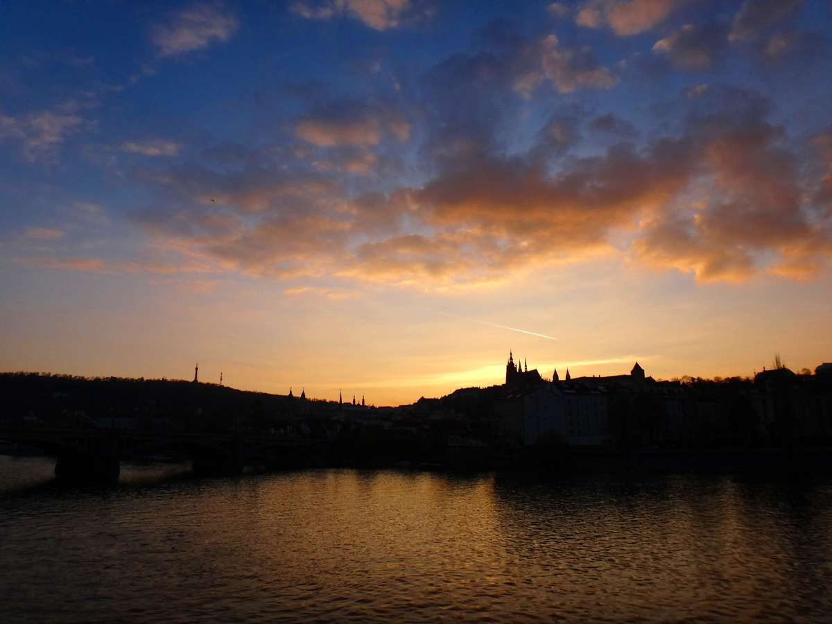 Sunset over the Vltava River in Prague, Czech Republic